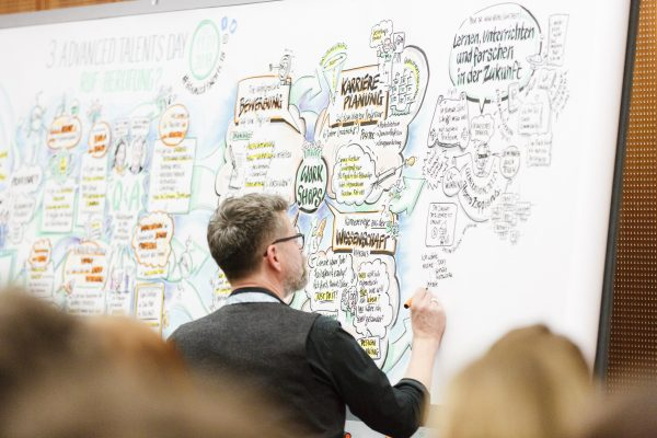 Christoph Illigens erstellt live das Graphic Recording des Advanced Talents Day 2018